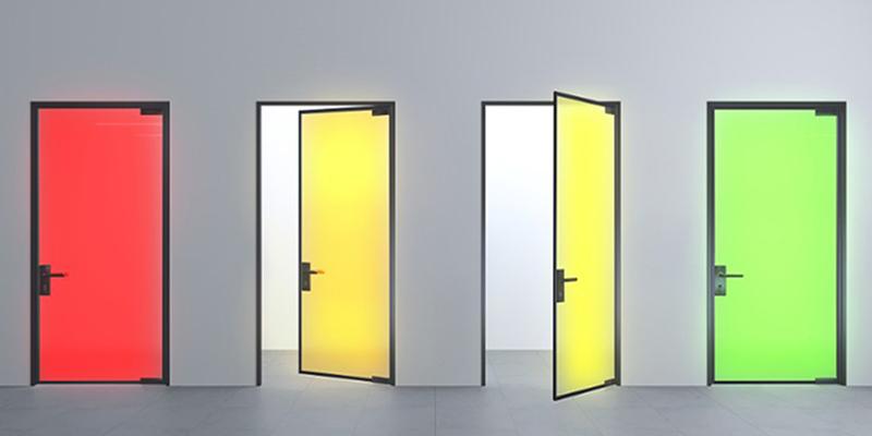 Sous tension le vitrage lumineux prend la couleur que l'on souhaite et devient une source de lumière.